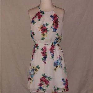 Lightly worn floral chiffon dress